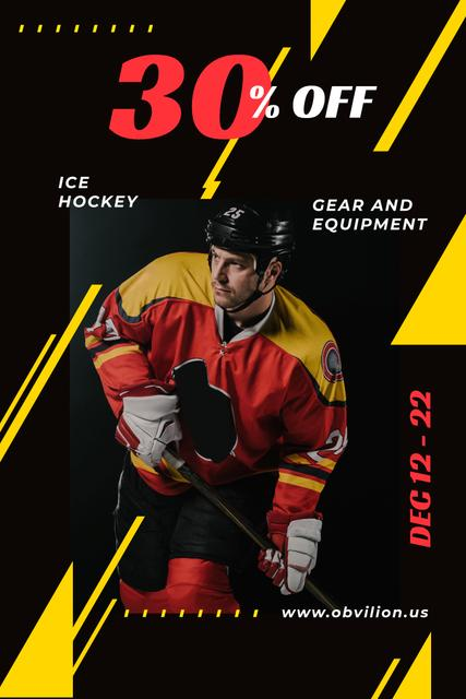 Sports Equipment Sale with Man Playing Hockey Pinterest Design Template