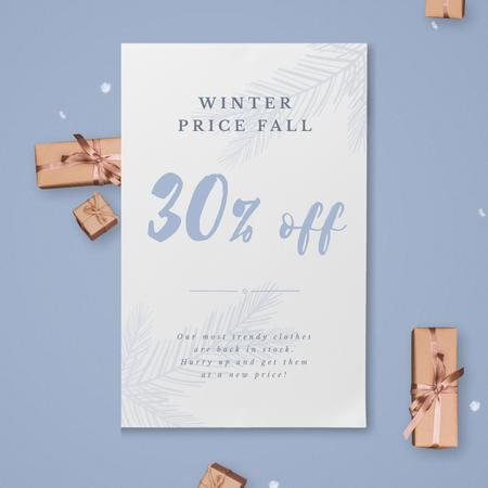 Christmas Gift Boxes Falling with Snow Animated Post Modelo de Design