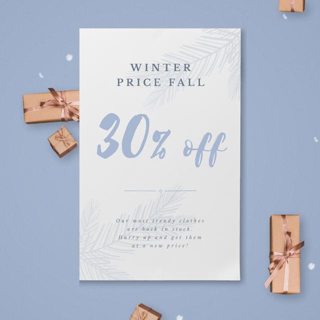 Designvorlage Christmas Gift Boxes Falling with Snow für Animated Post