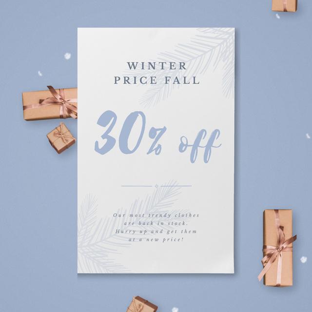 Plantilla de diseño de Christmas Gift Boxes Falling with Snow Animated Post