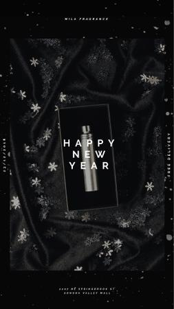 New Year Gift Box with Perfume Bottle Instagram Video Story Modelo de Design