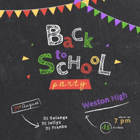 Back to School Party Inscription on Blackboard Animated Post Design Template