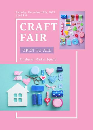 Szablon projektu Craft Fair with needlework tools Invitation