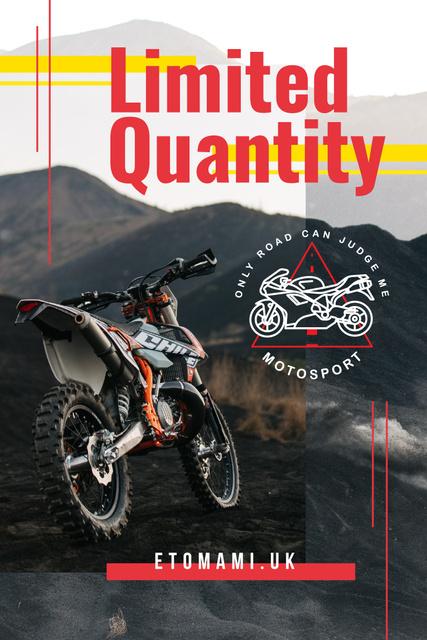 Motorbike on dirty road Pinterest – шаблон для дизайна