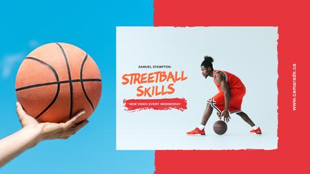 Sport Classes Ad with Basketball Player with Ball Youtube Design Template