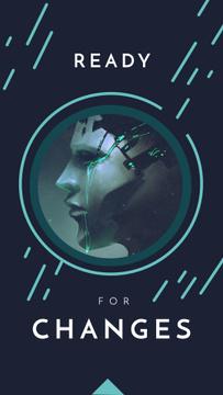 Futuristic android face