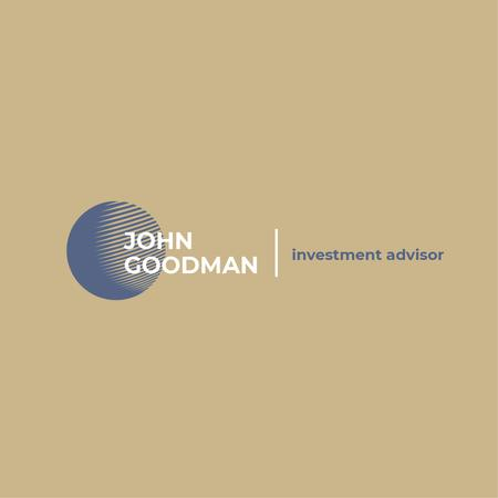 Ontwerpsjabloon van Logo van Investment Company Ad with Globe Icon in Blue