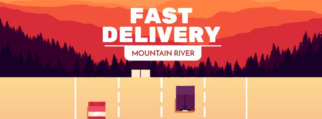 Delivery Service Cars and Trucks on Road | Facebook Video Cover Template — Crear un diseño