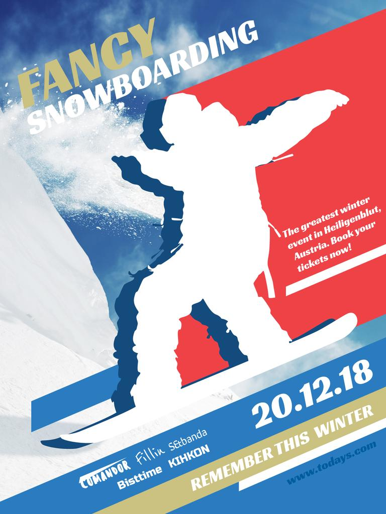 Snowboard Event Announcement Man Riding in Snowy Mountains | Poster Template — Створити дизайн