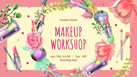 Makeup Workshop invitation Cosmetics Set Frame FB event cover – шаблон для дизайну