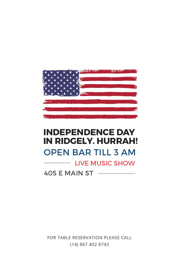 Independence Day Invitation with USA Flag on White — Crea un design