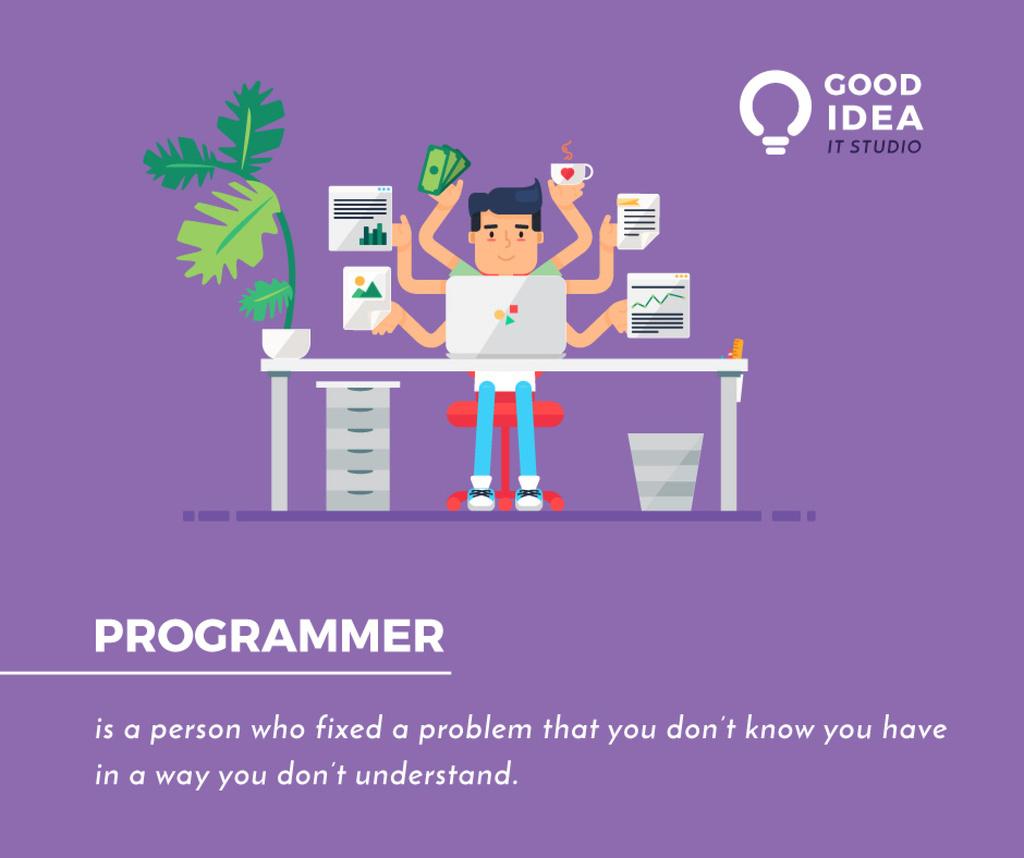 It Studio Ad Multitasking Programmer Working on Computer | Facebook Post Template — Создать дизайн
