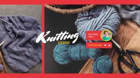 Knitting Lessons with Wool Yarn in Blue Youtubeデザインテンプレート