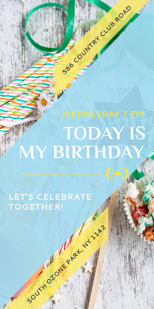 Birthday Party Invitation Bows and Ribbons — Crear un diseño