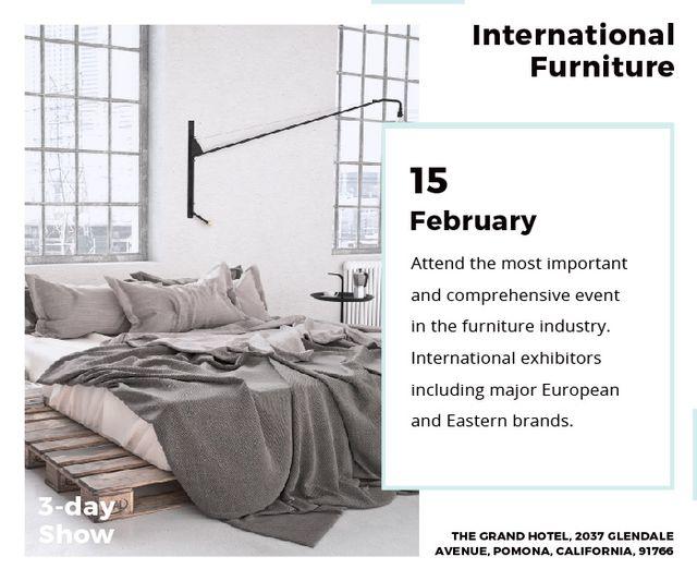 Furniture Store Ad Bedroom in Grey Color Large Rectangle Modelo de Design