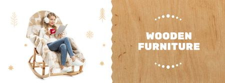 Ontwerpsjabloon van Facebook cover van Wooden Furniture Offer with Woman in Rocking Chair