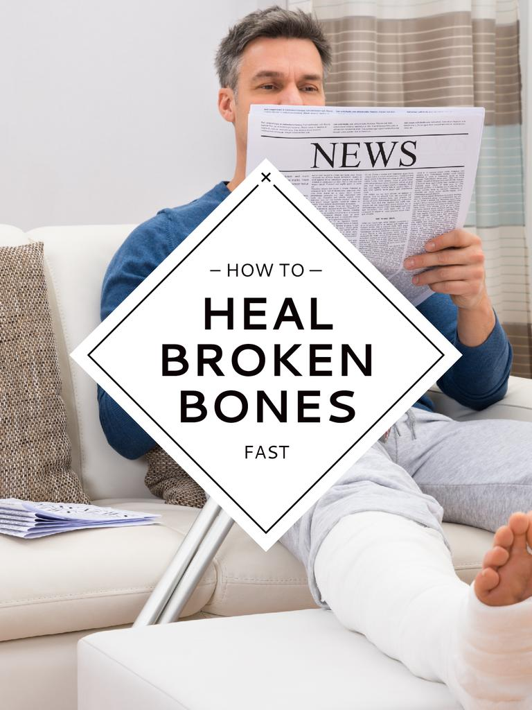 Man with broken bones sitting on sofa reading newspaper — Modelo de projeto