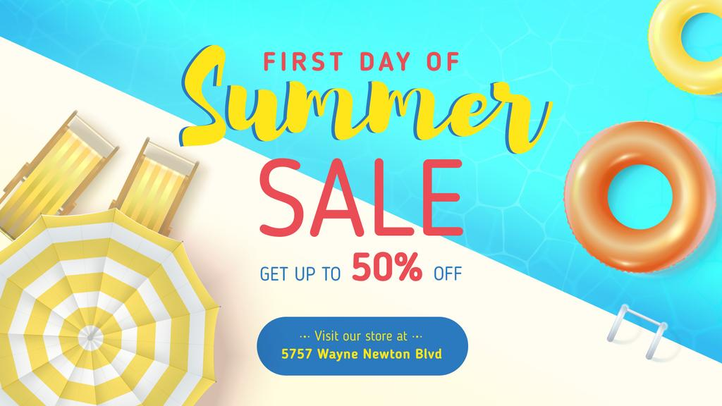 Summer Sale Umbrella by Swimming pool | Facebook Event Cover Template — Crea un design