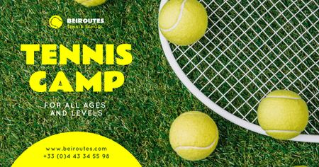 Sports Camp Offer Tennis Racket on Court Facebook ADデザインテンプレート