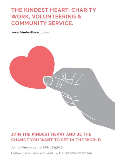 Charity Work The Kindest Heart Poster Design Template