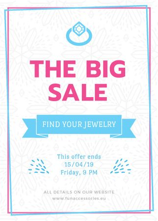 Jewelry sale with Ring in blue Flayerデザインテンプレート