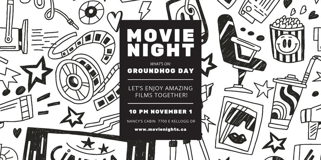 Movie Night Event Arts Icons Pattern Image – шаблон для дизайна
