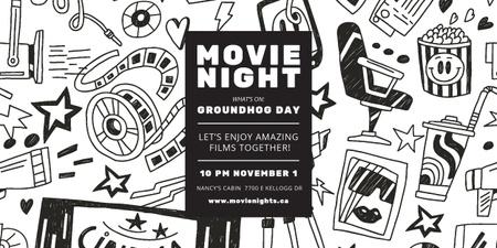 Modèle de visuel Movie Night Event Arts Icons Pattern - Image