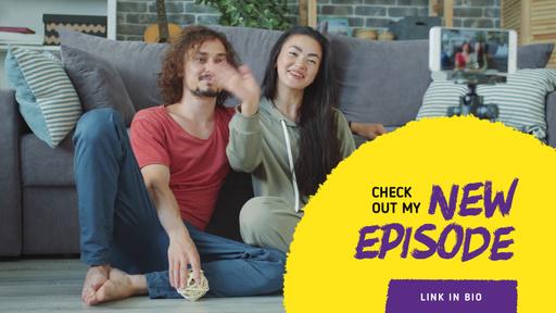 Video Blog Promotion Couple Waving On Sofa