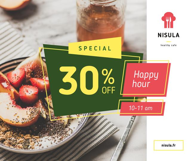 Template di design Happy Hour offer with Fruit Dish Facebook