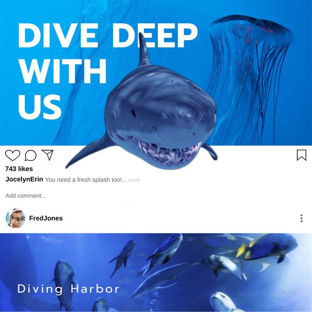 Modèle de visuel Aquarium inhabitants with Shark - Animated Post