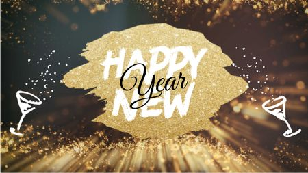 Plantilla de diseño de New Year greeting on golden glitter Title