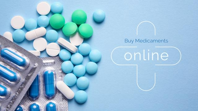 Template di design Pills on blue surface Presentation Wide