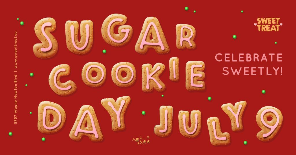 Sugar Cookie Day Invitation in Red — Создать дизайн