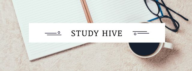 Education concept with Notebook and Coffee Facebook cover Modelo de Design