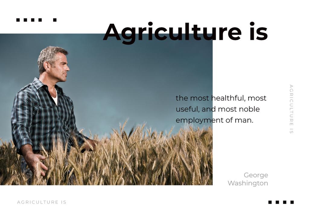 Farmer working in Field Postcard Modelo de Design