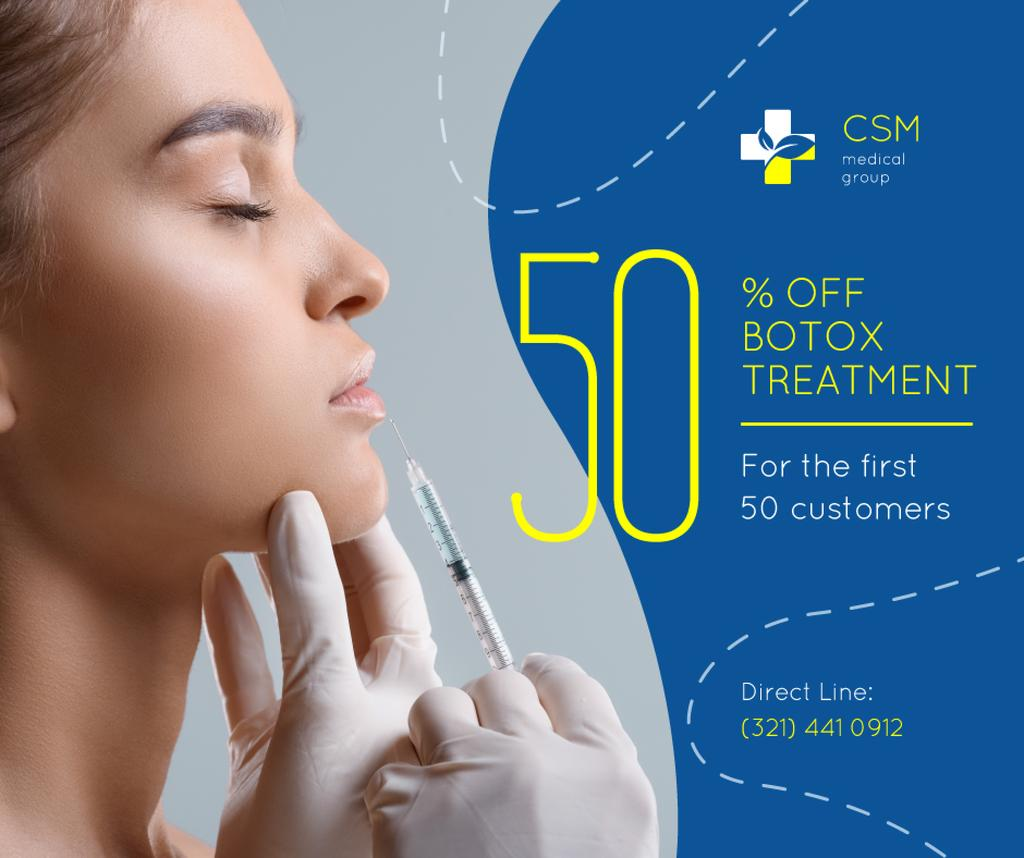 Medical Clinic Offer Woman at Botox Injection | Facebook Post Template — Modelo de projeto