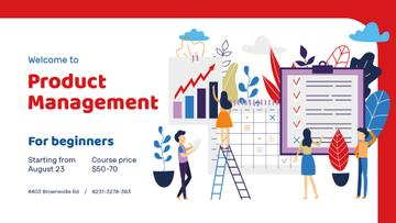 Business Courses Announcement Colleagues Working on Report | Facebook Event Cover Template