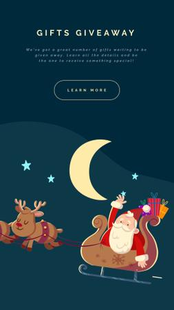 Santa riding in sleigh for Christmas Instagram Video Story – шаблон для дизайну