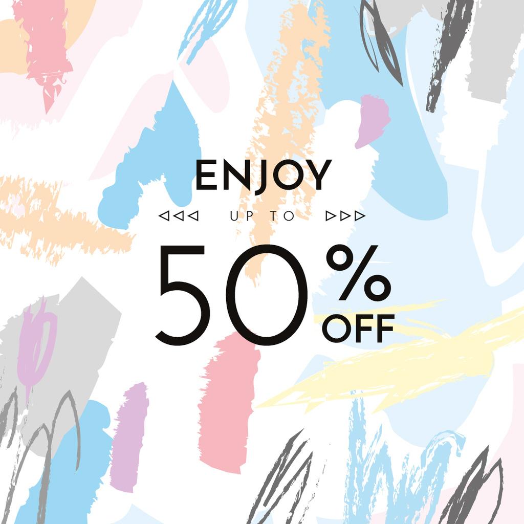 Template di design Sale announcement on Colorful paint blots Instagram AD