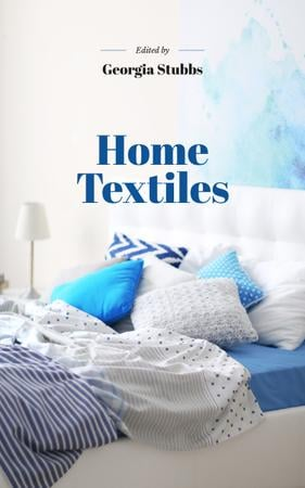 Home Textiles Cozy Interior in Blue Colors Book Cover Tasarım Şablonu