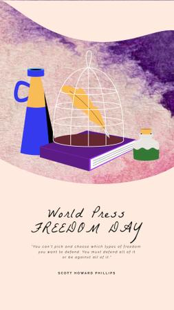 Press Freedom Day Journalist Workplace and Attributes Instagram Video Story – шаблон для дизайну