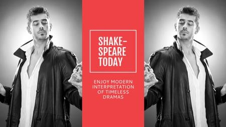 Theater Invitation Actor in Shakespeare's Performance Youtube Modelo de Design