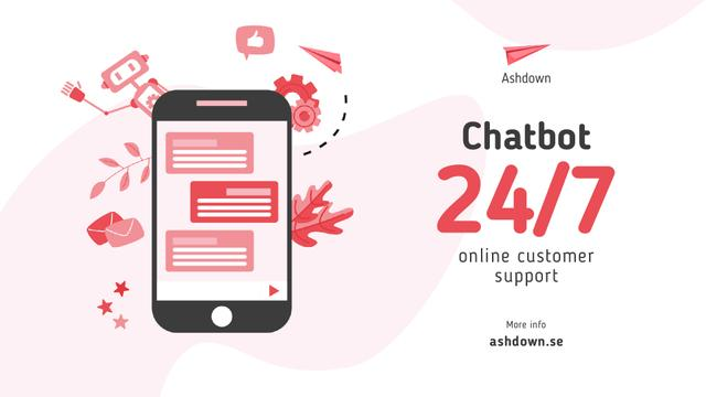 Designvorlage Online Customers Support Chat on Phone Screen für Full HD video