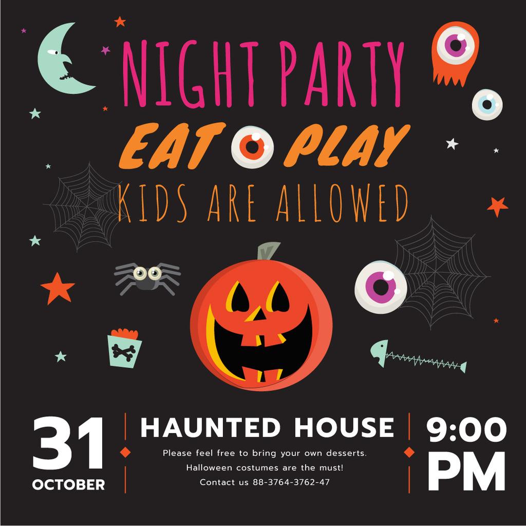 Halloween party invitation with Pumpkin — Maak een ontwerp
