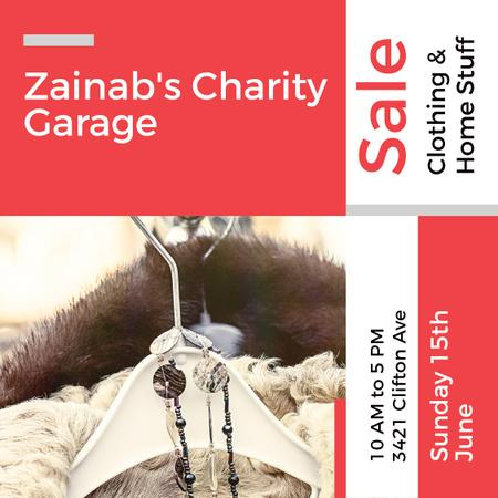 Charity Sale Announcement Clothes on Hangers Instagram AD Tasarım Şablonu