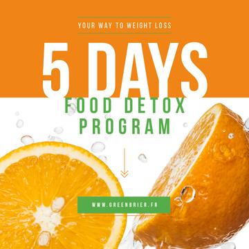 Detox Food Offer with Raw Oranges | Instagram Post Template