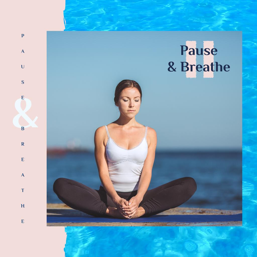 Woman Practicing Yoga at the Coast | Square Video Template — Crear un diseño