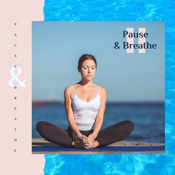 Woman Practicing Yoga at the Coast | Square Video Template