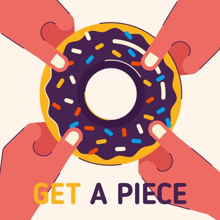 People Pulling Sweet Donut Animated Post – шаблон для дизайна