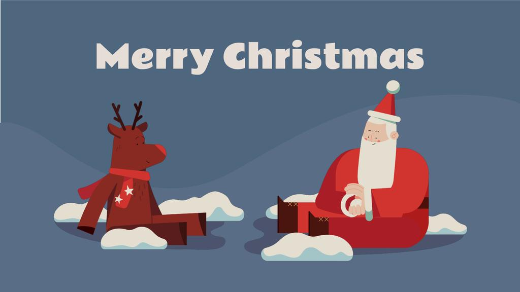 Santa playing snowballs with deer —デザインを作成する